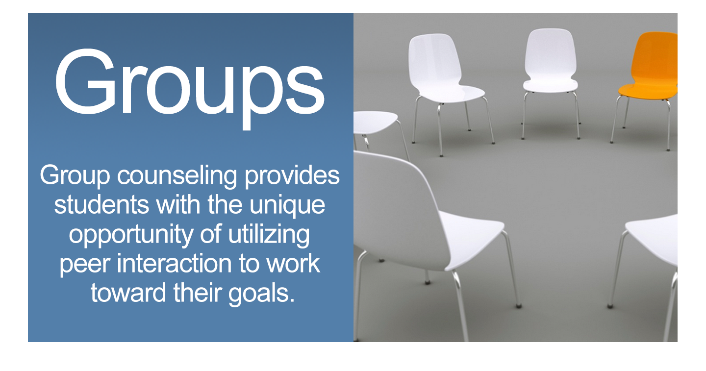 Group counseling provides students with the unique opportunity of utilizing peer interaction to work toward their goals.
